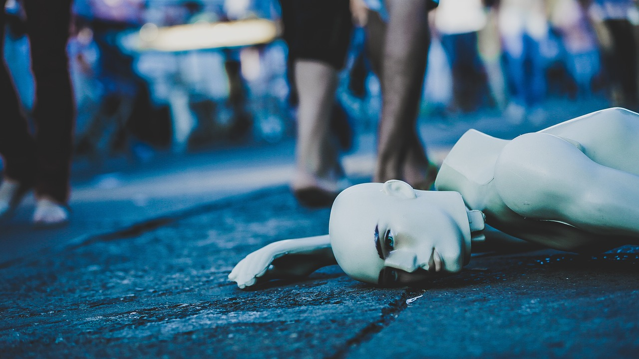mannequin, lying down, street