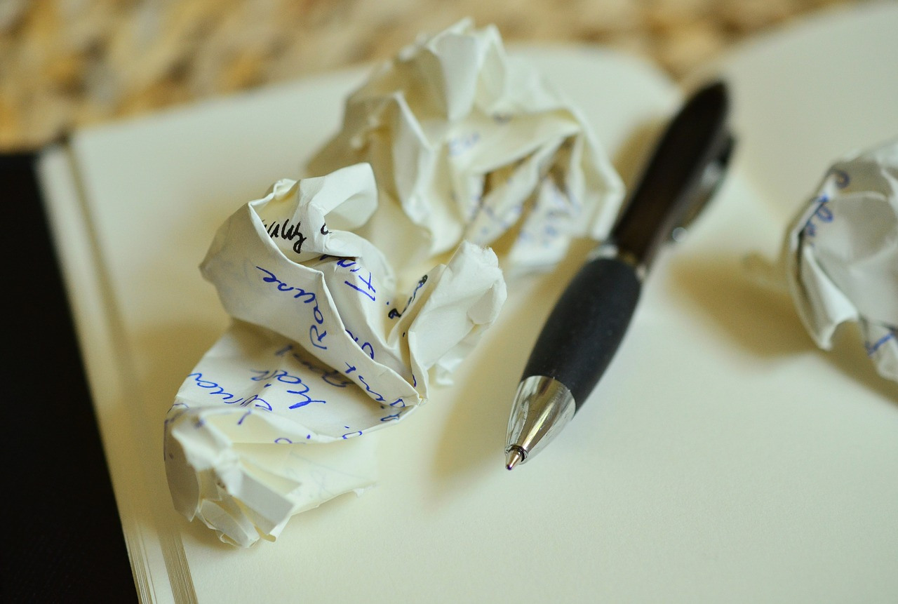 write, notes, paper ball